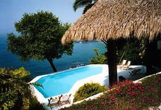 Large pool terrace with palapa.