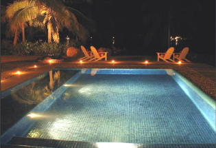 Nightime view of pool.