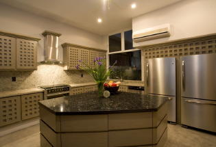 Gourmet kitchen with stateof-the-art appliances.