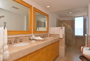 Nicely appointed lower Master suite bathroom.
