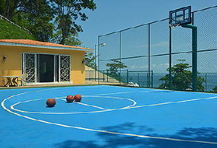 Basketball court and gym.