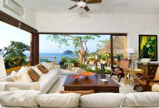 Living area looks out to Banderas Bay.