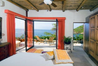 Master suite with terrace and view of Banderas Bay.