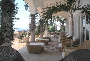 Sitting area on main terrace with view of Banderas Bay.