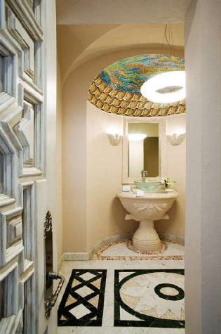 Beautifully decorated guest bathroom on main level.