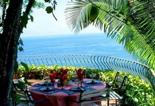 Dining terrace with view of Banderas Bay.